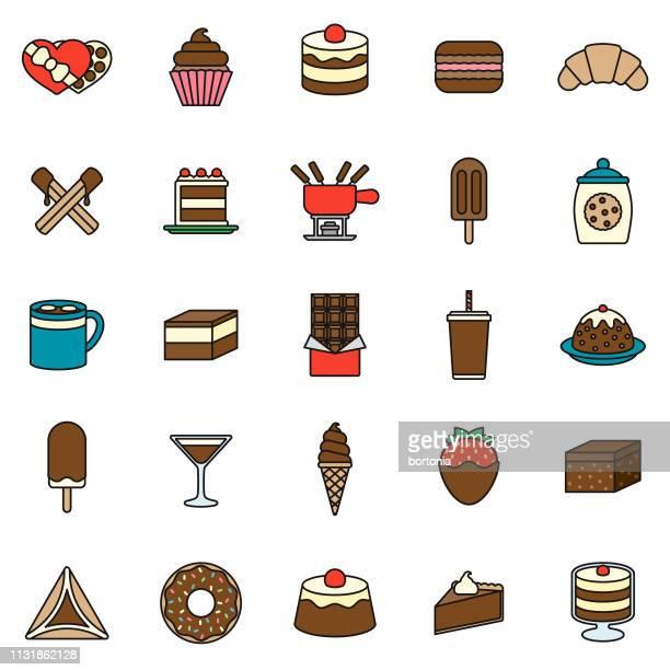 chocolate thin line icon set - churro stock illustrations, clip art, cartoons, & icons
