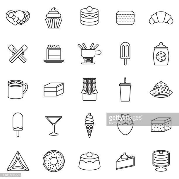 chocolate thin line icon set - frozen food stock illustrations