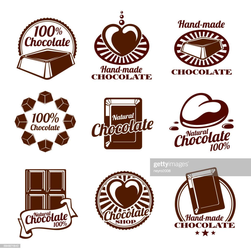 Chocolate vector logos, emblems and badges