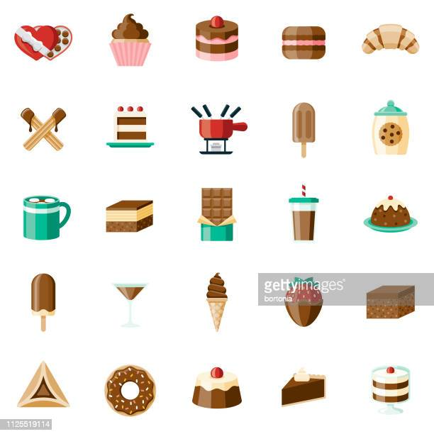 chocolates icon set - fudge stock illustrations