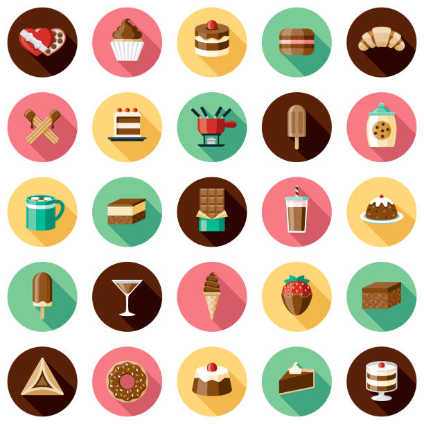 chocolates icon set - frozen food stock illustrations