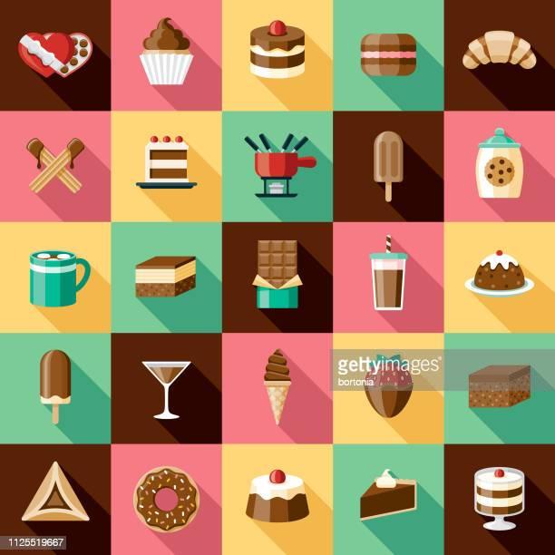 ilustrações, clipart, desenhos animados e ícones de conjunto de ícones de chocolates - molho de chocolate