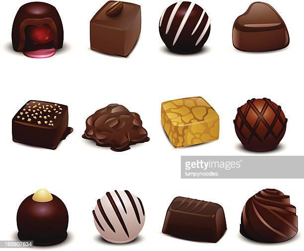 ilustraciones, imágenes clip art, dibujos animados e iconos de stock de chocolates. - golosina