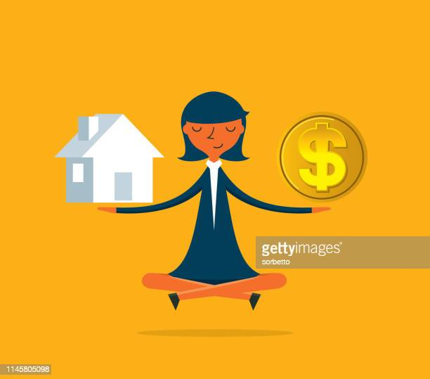 choice - businesswoman - mortgage loan stock illustrations
