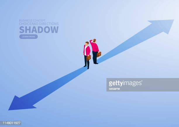 choice, projection in different directions - two people stock illustrations