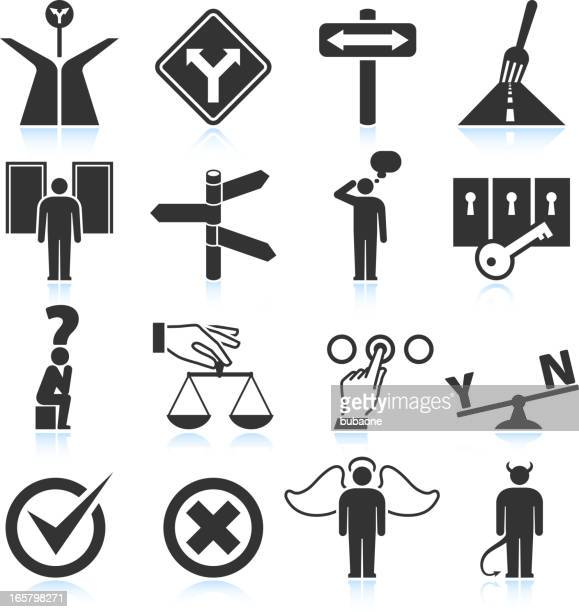 choices & decisions black and white royalty-free vector icon set - deterioration stock illustrations, clip art, cartoons, & icons