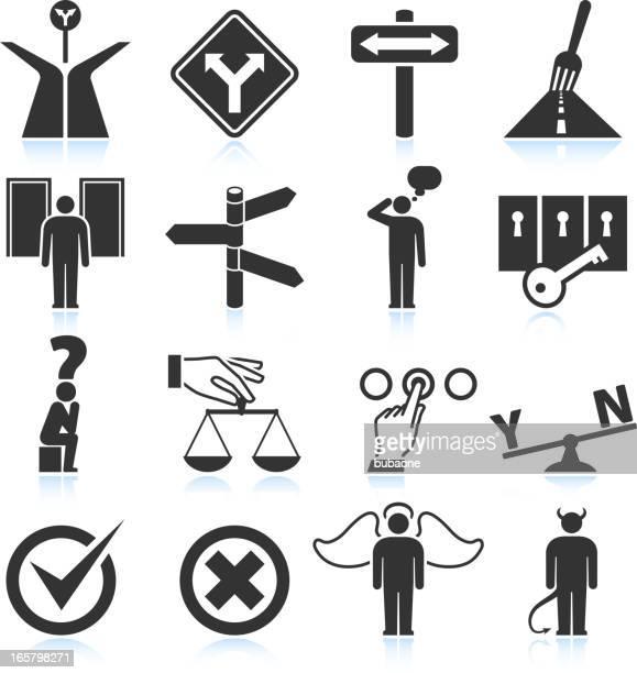 選択肢&決定ブラックとホワイトのロイヤリティフリーのベクターアイコンセット - 煉獄点のイラスト素材/クリップアート素材/マンガ素材/アイコン素材