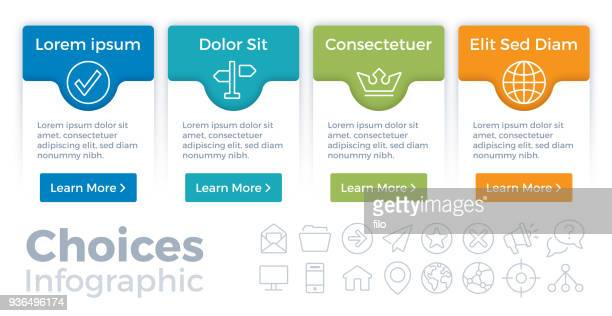 choices infographic - four objects stock illustrations