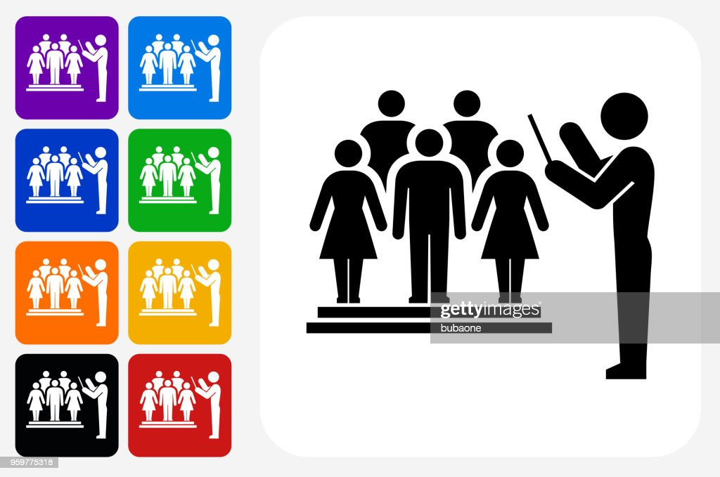 Choir and Director Icon Square Button Set : Stock Illustration