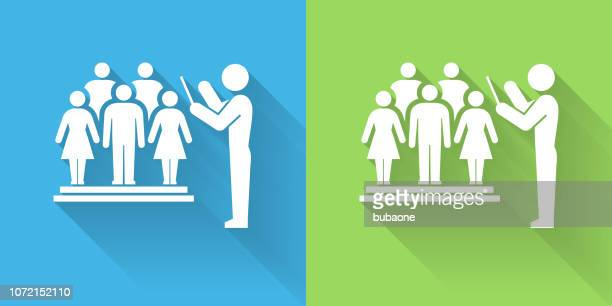 choir and director icon with long shadow - director stock illustrations
