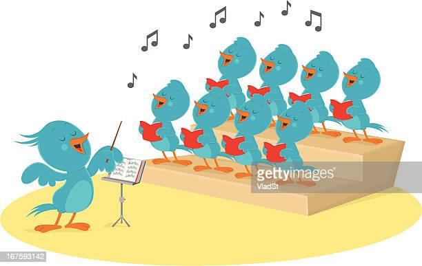ilustraciones, imágenes clip art, dibujos animados e iconos de stock de coro de bluebirds - director de orquesta