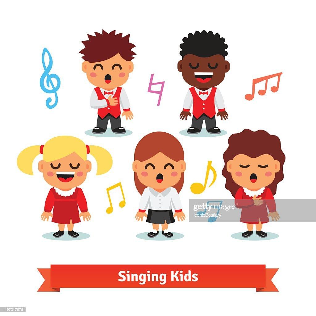 Choir of kids singing. Boys and girls