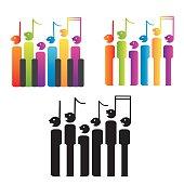 Choir of notes and piano keys