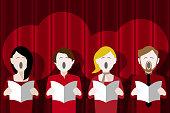 choir singing against a stage curtain