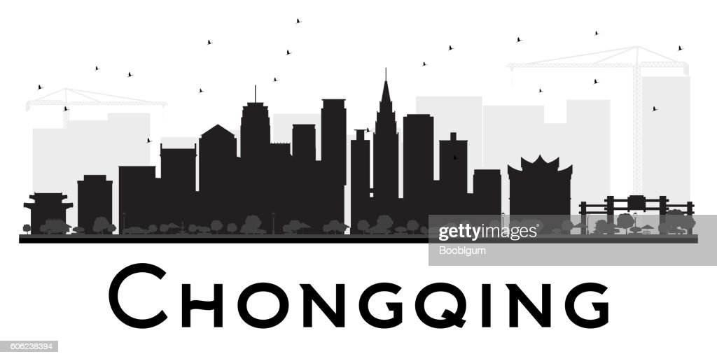 Chongqing City skyline black and white silhouette.