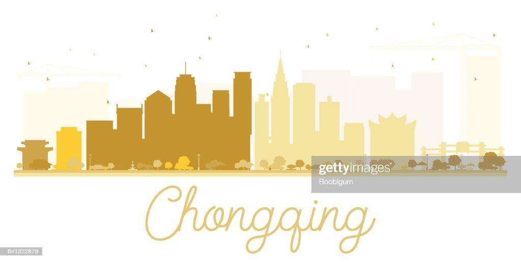 Chongqing City skyline golden silhouette