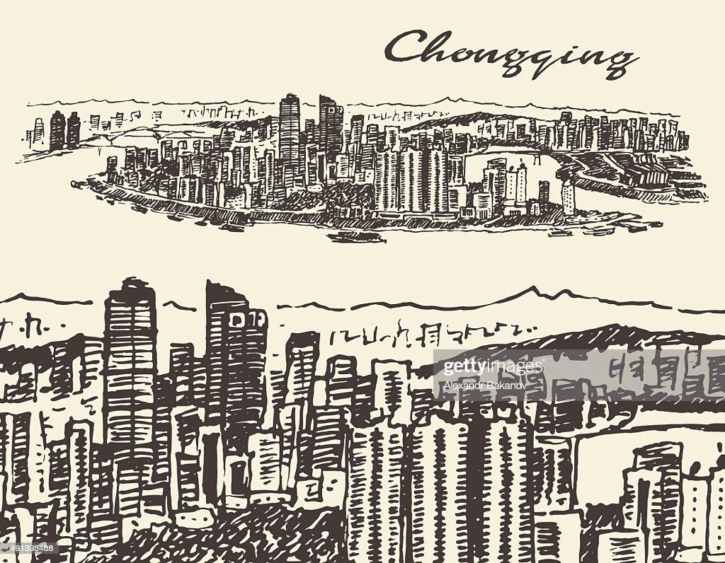 Chongqing illustration, hand drawn, sketch