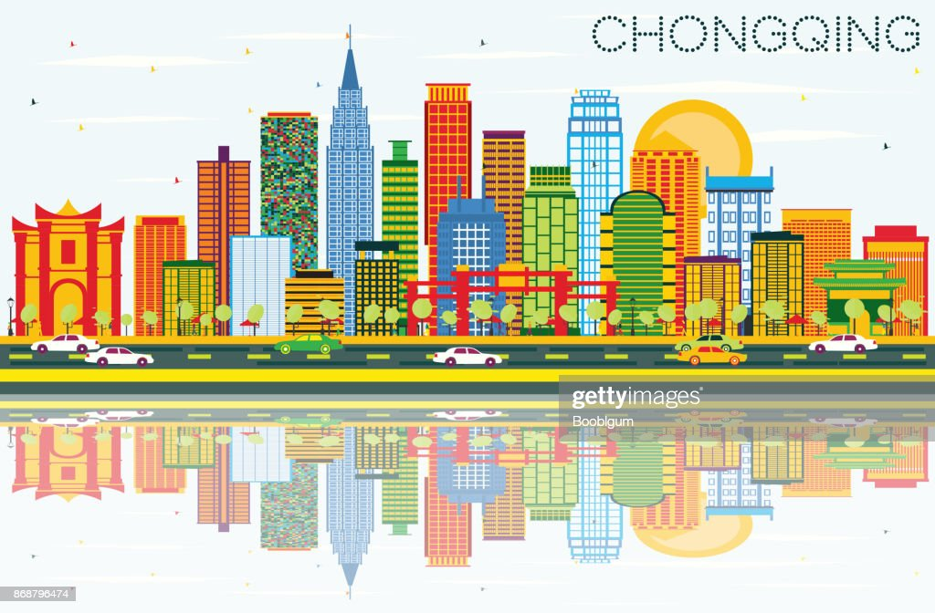 Chongqing Skyline with Color Buildings, Blue Sky and Reflections.