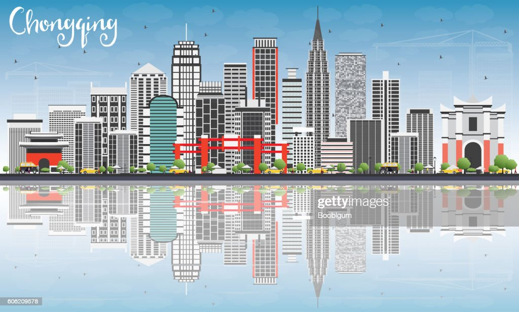 Chongqing Skyline with Gray Buildings, Blue Sky and Reflections.