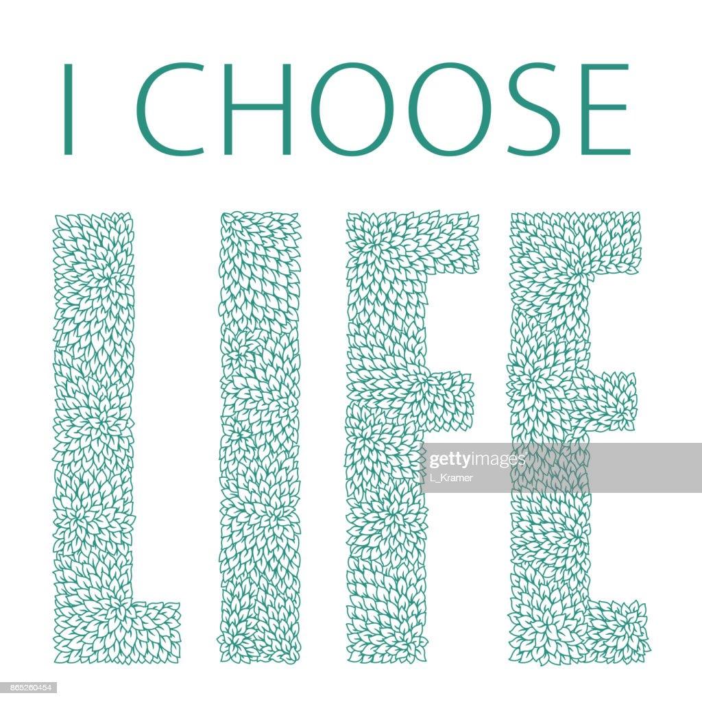 Ich Wähle Das Leben Angebot Ausdruck Slogan Gold Farbig Verzierte ...