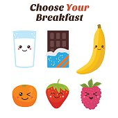 Choose Your breakfast. Healthy lifestyle breakfast. Cute Kawaii