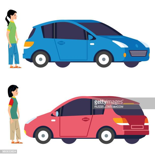 choosing a new car - compact car stock illustrations, clip art, cartoons, & icons
