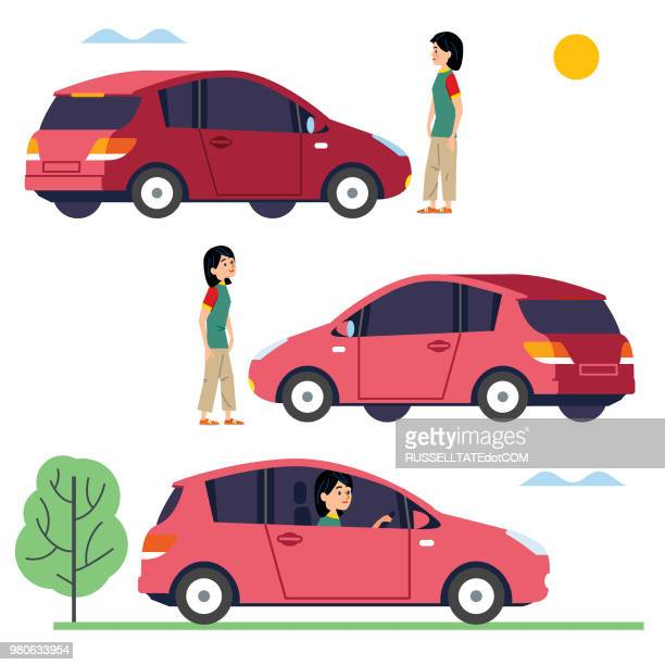 choosing a vehicle that is right for you - teenagers only stock illustrations