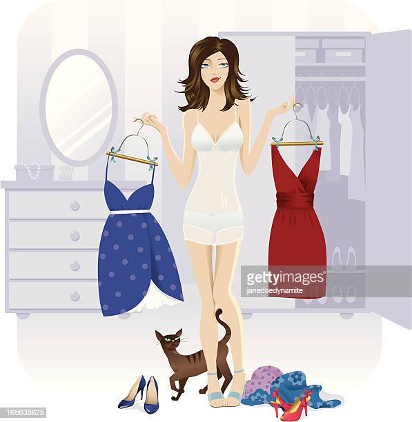 choosing an outfit - purple dress stock illustrations