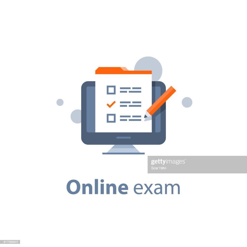 Choosing answer, questionnaire form, exam preparation, online test, checklist  on monitor