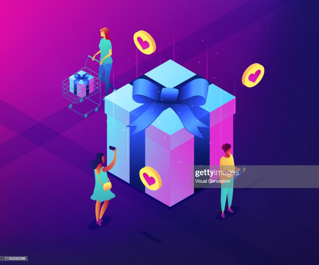 Choosing gift idea isometric 3D concept illustration.