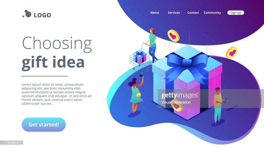 Choosing gift idea isometric 3D landing page.