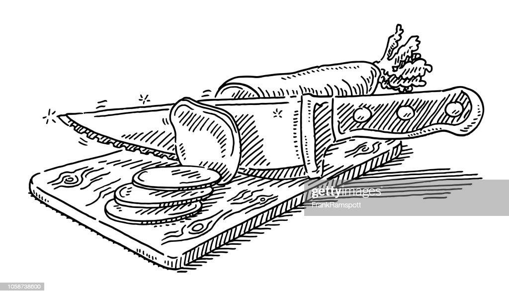 Hacken Sie Küche Messer schneiden Rettich Zeichnung : Vektorgrafik