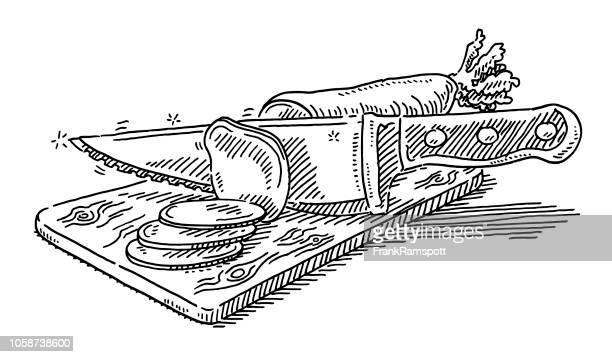 Hacken Sie Küche Messer schneiden Rettich Zeichnung