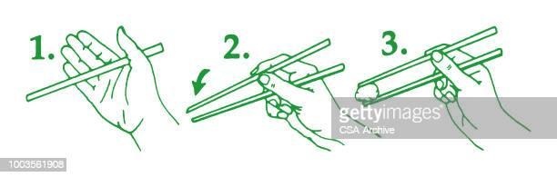 illustrazioni stock, clip art, cartoni animati e icone di tendenza di chopsticks diagram - bacchetta