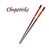 Chopsticks for asian food, japanese noodles. Cartoon flat style. Vector