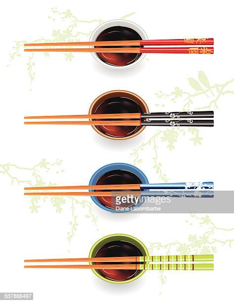 chopsticks with soy sauce and cherry blossoms - chopsticks stock illustrations, clip art, cartoons, & icons