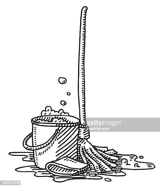 illustrations, cliparts, dessins animés et icônes de tâches équipement de nettoyage de tirage - seau