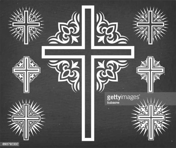 christaian religious crosses vector set on black chalkboard - religious cross stock illustrations