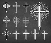 Christaian Religious Crosses Vector Set on Black Chalkboard