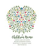 Christening Invite - Invitation Template with Pigeon and Flowers