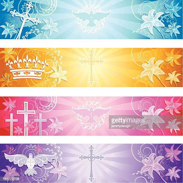 christian banners - holy week stock illustrations, clip art, cartoons, & icons