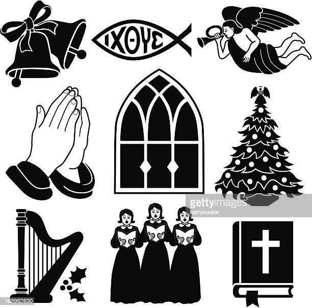 christian weihnachten symbole - clipart stock-grafiken, -clipart, -cartoons und -symbole