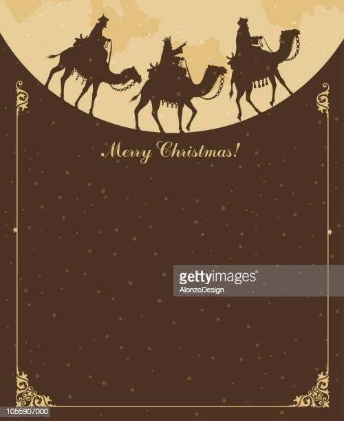 ilustraciones, imágenes clip art, dibujos animados e iconos de stock de christian christmas - belén - los tres reyes magos