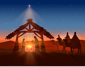 Christian Christmas with Wise Men and Jesus