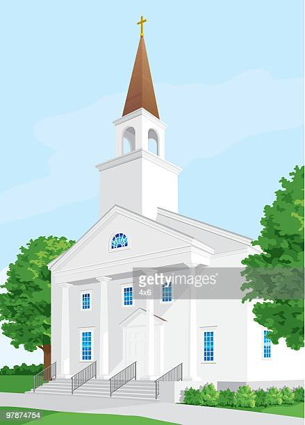 christian chruch - steeple stock illustrations, clip art, cartoons, & icons
