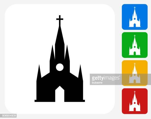 キリスト教グラフィックデザインアイコンフラット - 尖り屋根点のイラスト素材/クリップアート素材/マンガ素材/アイコン素材
