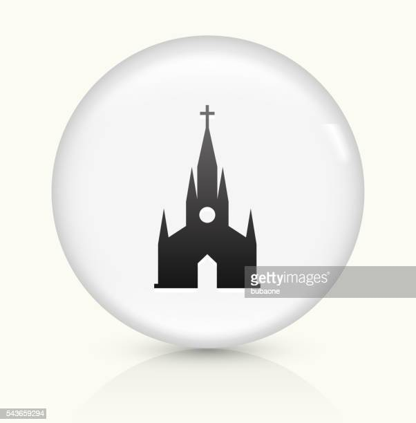 christian church icon on white round vector button - steeple stock illustrations, clip art, cartoons, & icons