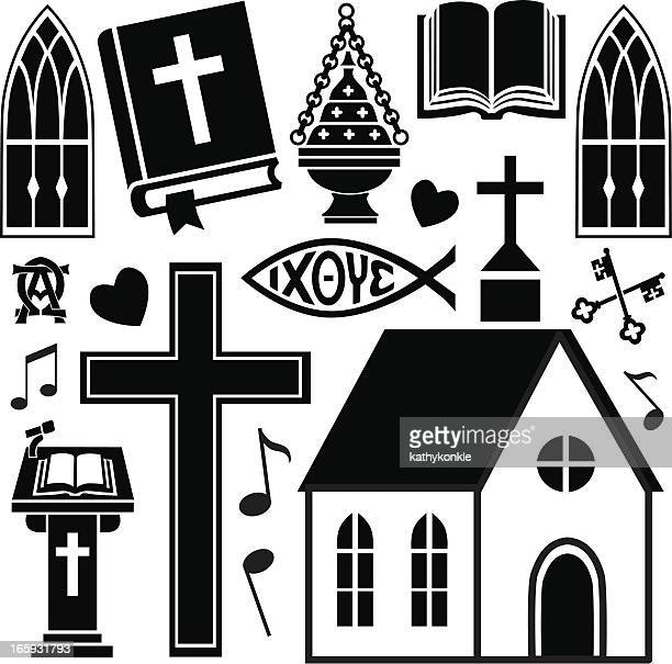 ilustrações, clipart, desenhos animados e ícones de christian igreja - bíblia