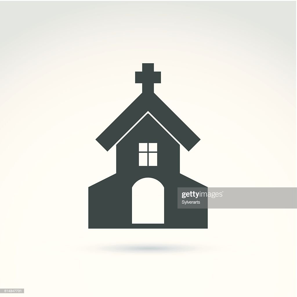 Christian church with a cross. Vector illustration of a temple