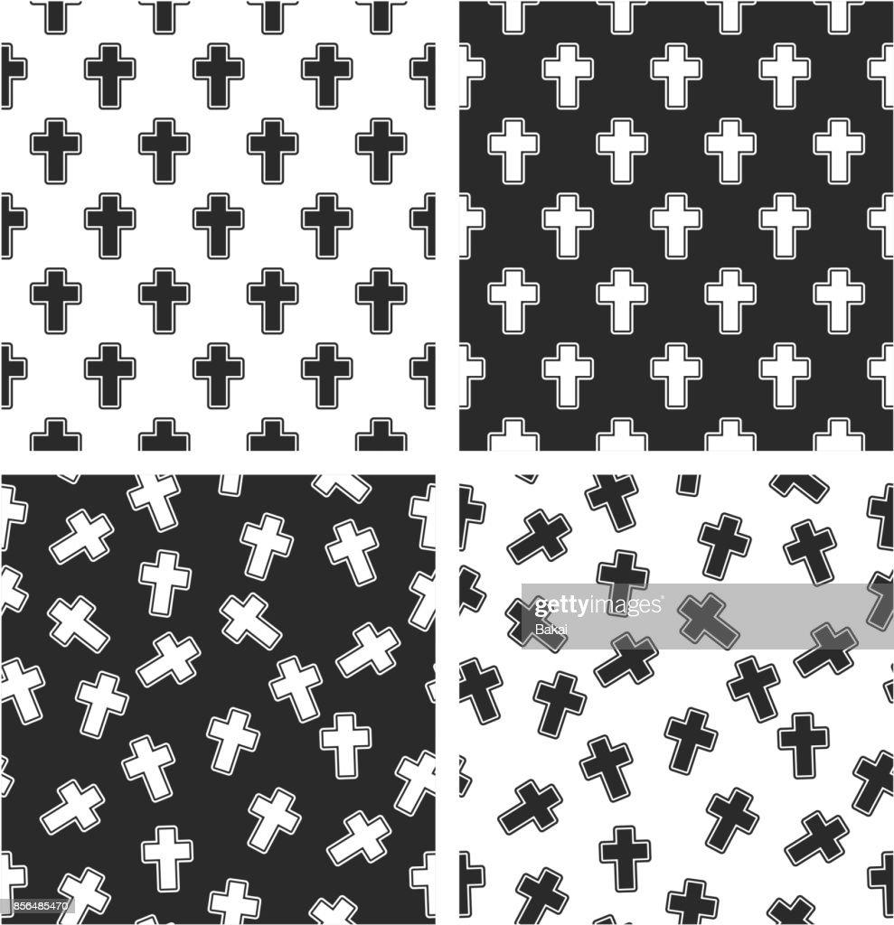 Christian Cross Aligned & Random Seamless Pattern Set